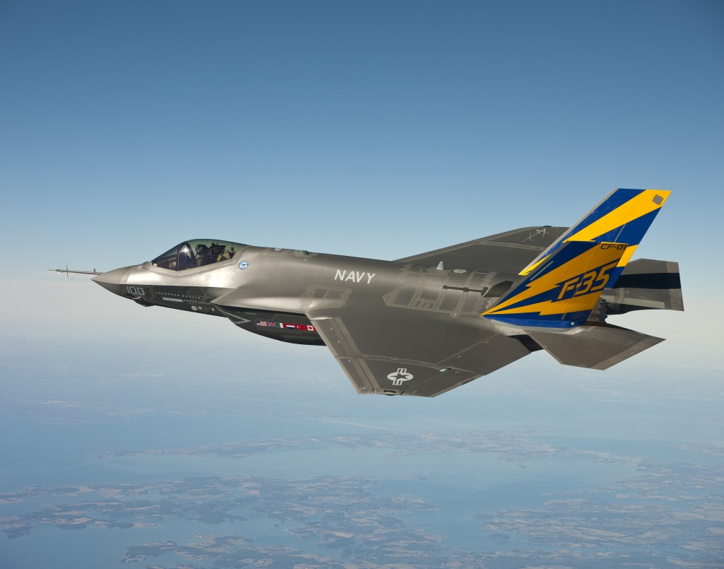 "Lt. Cmdr. Eric ""Magic"" Buus flew the F-35C for two hours"